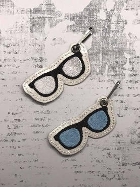 Sunglasses / Glasses Zipper Pull Embroidery Design